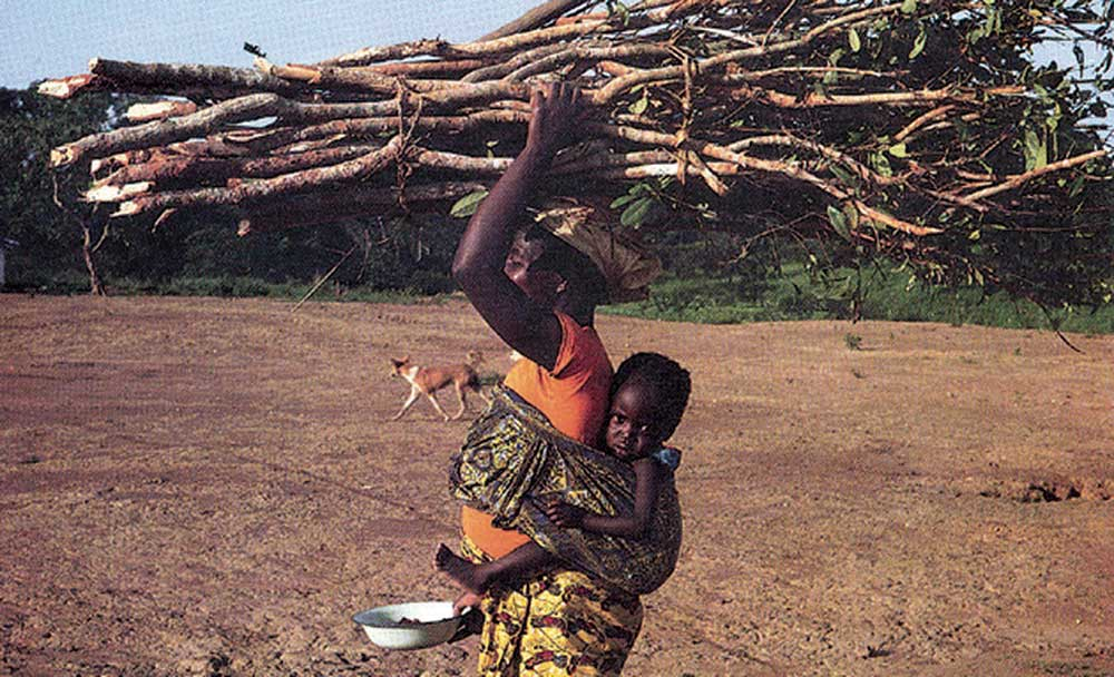 Woman carrying firewood and child.
